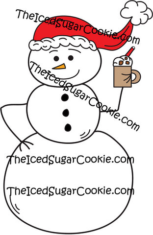 Snowman Holding Hot Chocolate Wearing Santa Hat Clip Art Christmas Graphics Pack Commercial Use