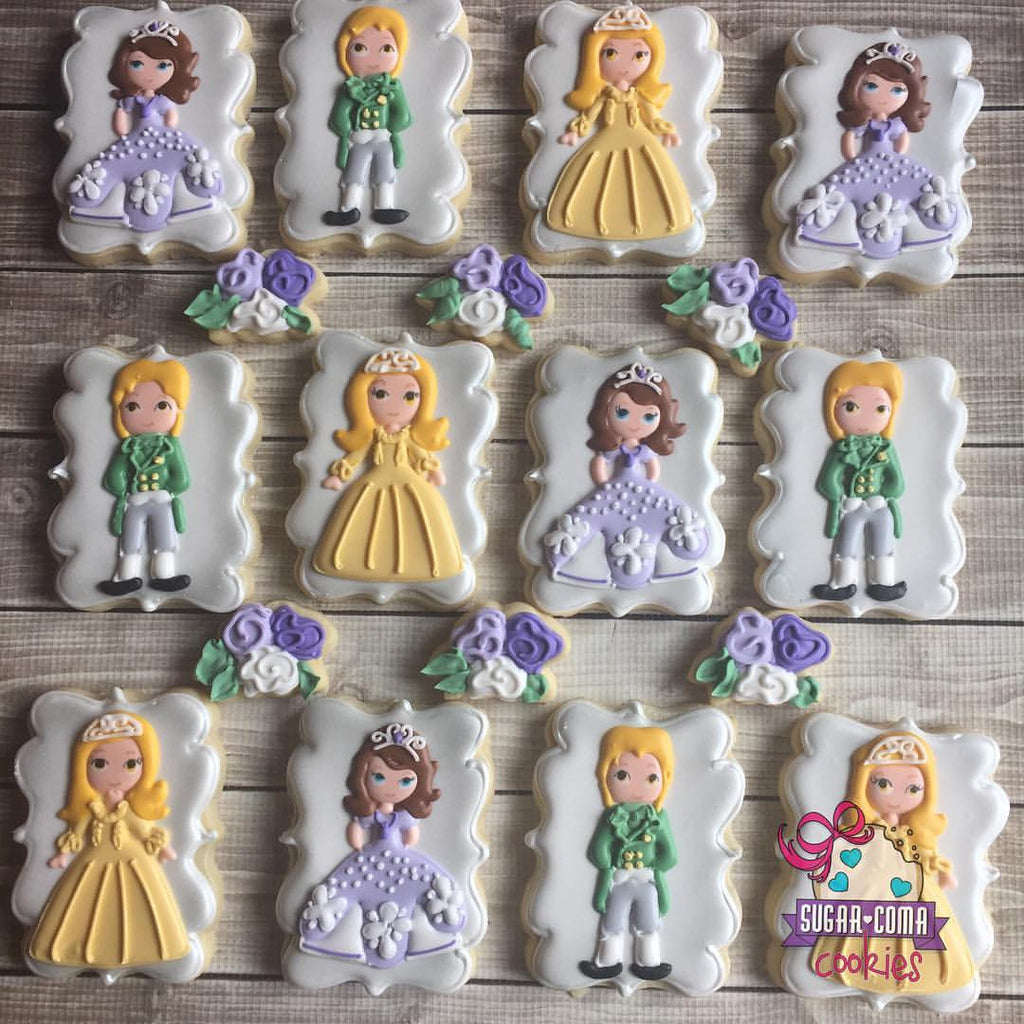 Sofia The First Birthday Party Sugar Cookies TheIcedSugarCookie.com Sugar Coma Cookies