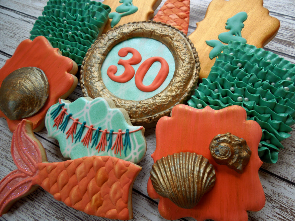 """Mermaid Tails, Waves, & Seashells"" Under The Sea Birthday Party Sugar Cookies TheIcedSugarCookie.com Flourish Cookies"