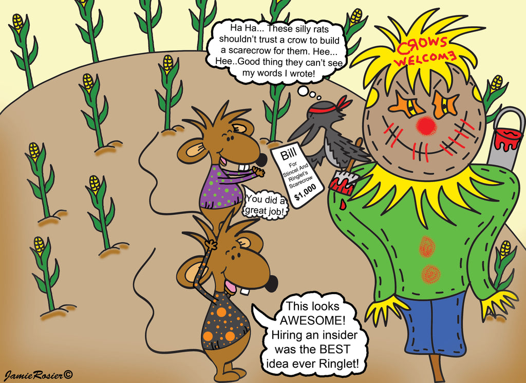 Stincel And Ringlet Building A Scarecrow Cartoon Illustration by Jamie Rosier