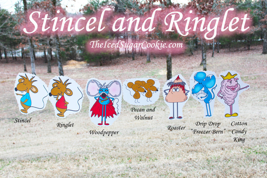Stincel and Ringlet Birthday Party Flag Bunting Banner Hanging Garland DIY Idea-Roaster, Freezer Bern Drip Drop, Cotton Candy King, Pecan and Walnut, Woodpepper