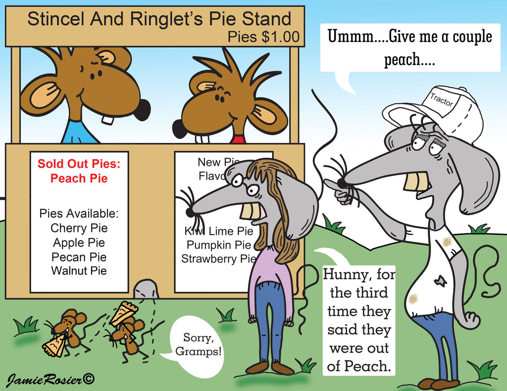 Stincel And Ringlet Running Their Pie Stand Cartoon Illustration by Jamie Rosier-The Iced Sugar Cookie