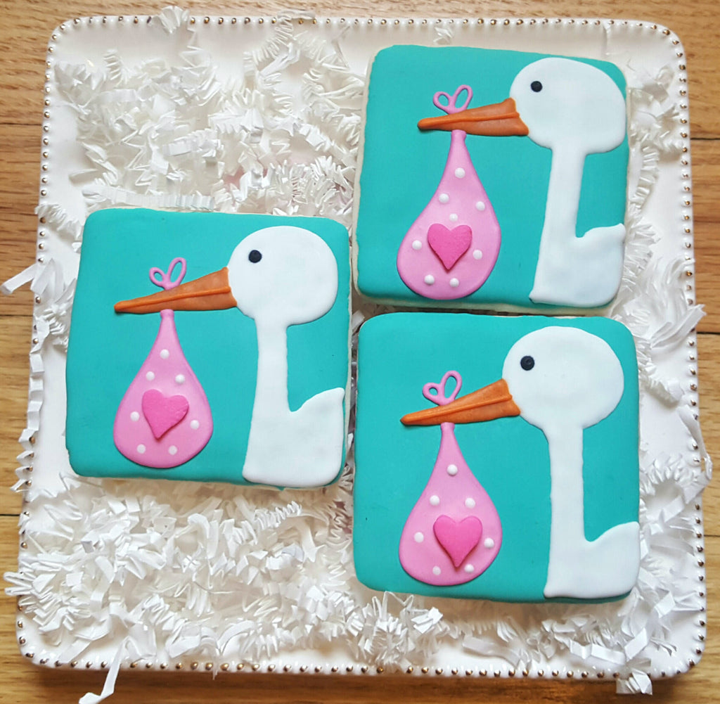 Elegant Stork Baby Shower Sugar Cookies TheIcedSugarCookie.com Baked Lovely
