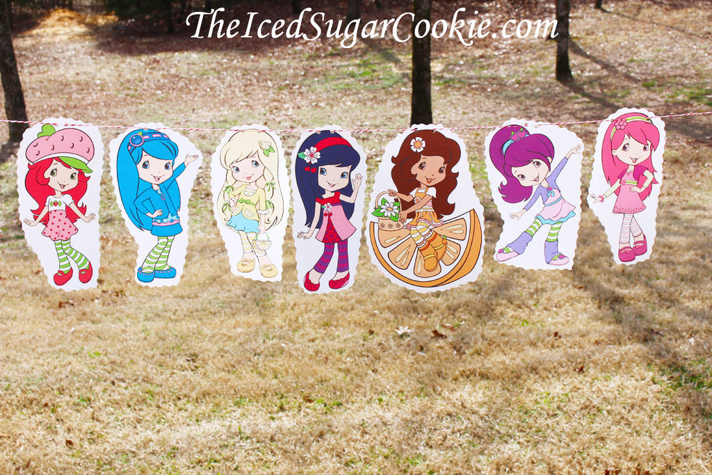 Strawberry Shortcake Birthday Party Banner-Blueberry Muffin, Lemon Meringue, Cherry Jam, Orange Blossom, Plum Pudding, Raspberry Torte
