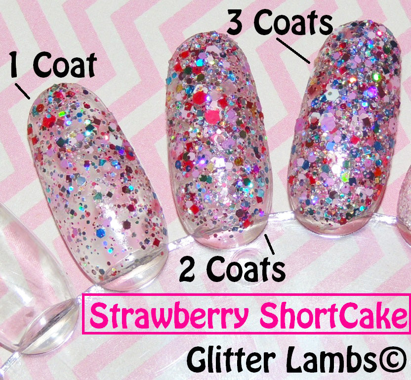 "Glitter Lambs ""Strawberry Shortcake""Glitter Topper Nail Polish. www.TheIcedSugarCookie.com Custom handmade nail polishes for your nails. #nails"