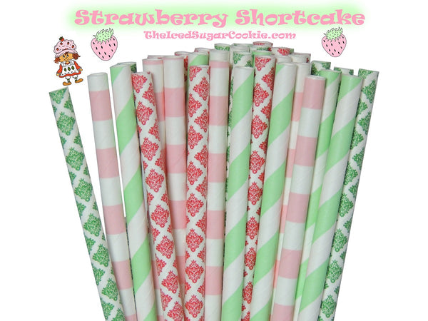 Strawberry Shortcake Birthday Party Paper Straws TheIcedSugarCookie.com