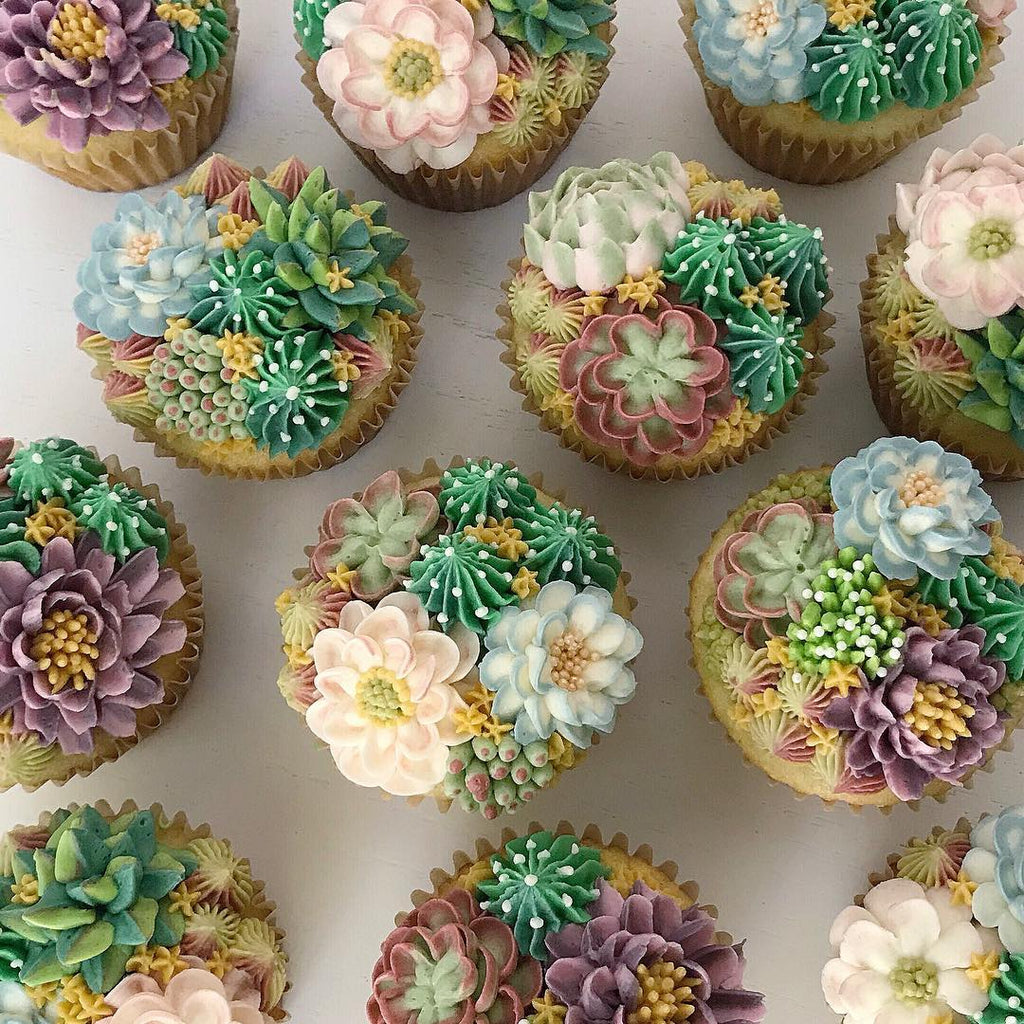Succulent Iced Sugar Cookies by @bakedbyjin featured on TheIcedSugarCookie.com #succulentcupcakes #succulentdesserts #cupcakes #cake #theicedsugarcookie
