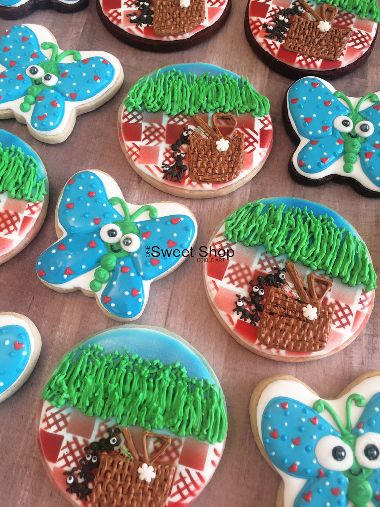 Summertime Picnic Baskets, Ants And Butterflies Sugar Cookies TheIcedSugarCookie.com One Sweet Shop Cookies