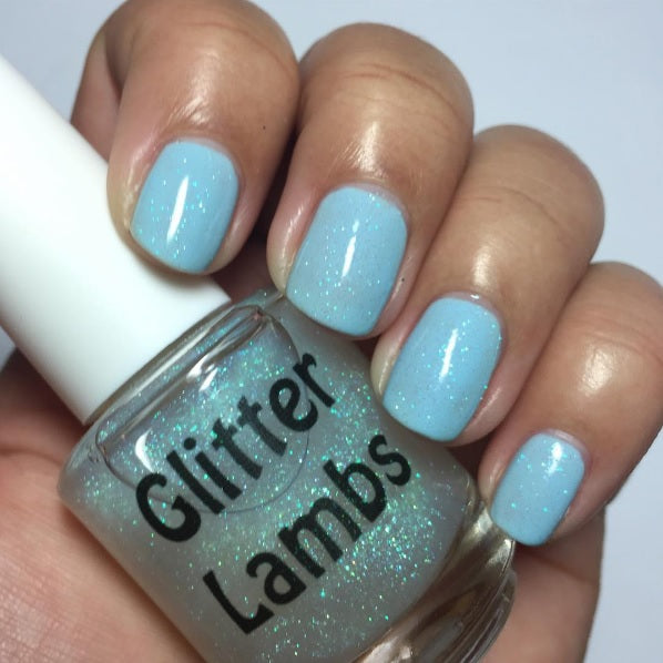 "Glitter Lambs 'Sun Dazzler Glaze"" Nail Polish. www.TheIcedSugarCookie.com Custom handmade nail polishes for your nails. #nails"