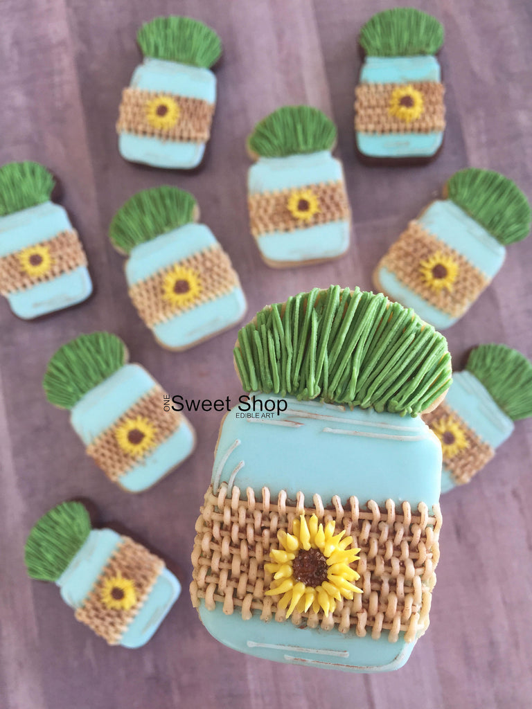 Sunflowers And Mason Jar Sugar Cookies TheIcedSugarCookie.com One Sweet Shop Cookies