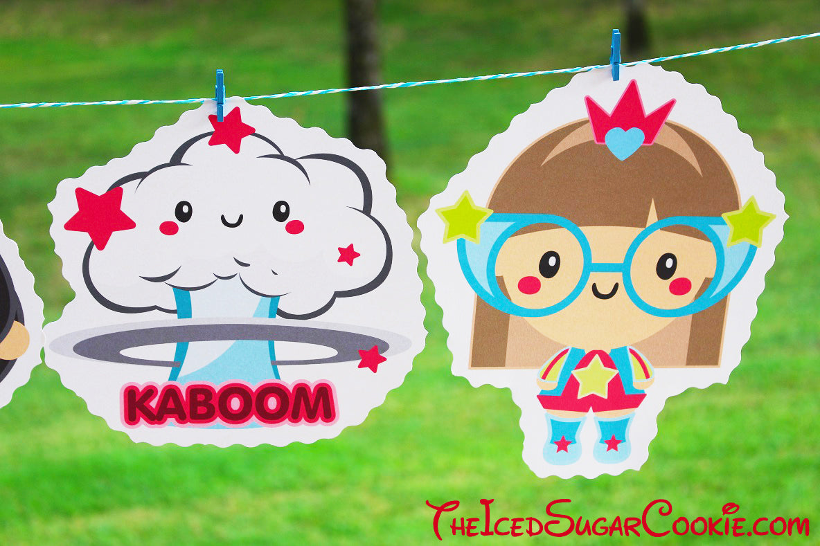 Superhero Birthday Party DIY Banner Ideas- Kaboom, Super Hero Girl, Super Hero Boy