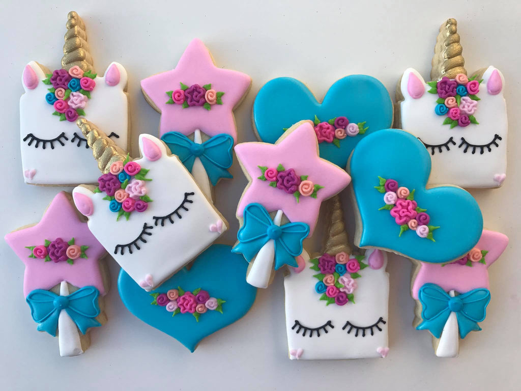 Sweet Magical Unicorn Birthday Party Sugar Cookies TheIcedSugarCookie.com Ruthie Grace Cake Co