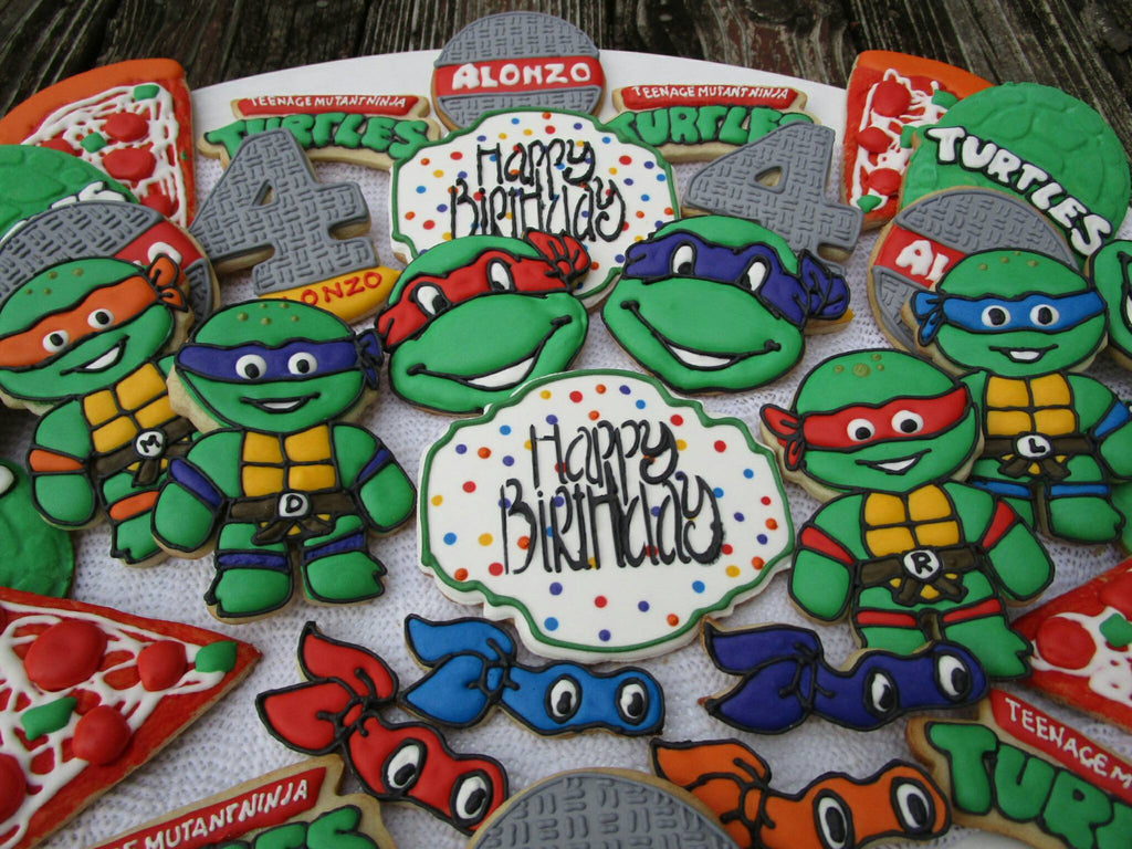 Teenage Mutant Ninja Turtles Birthday Party Cookies TheIcedSugarCookie.com Ecinue Creations