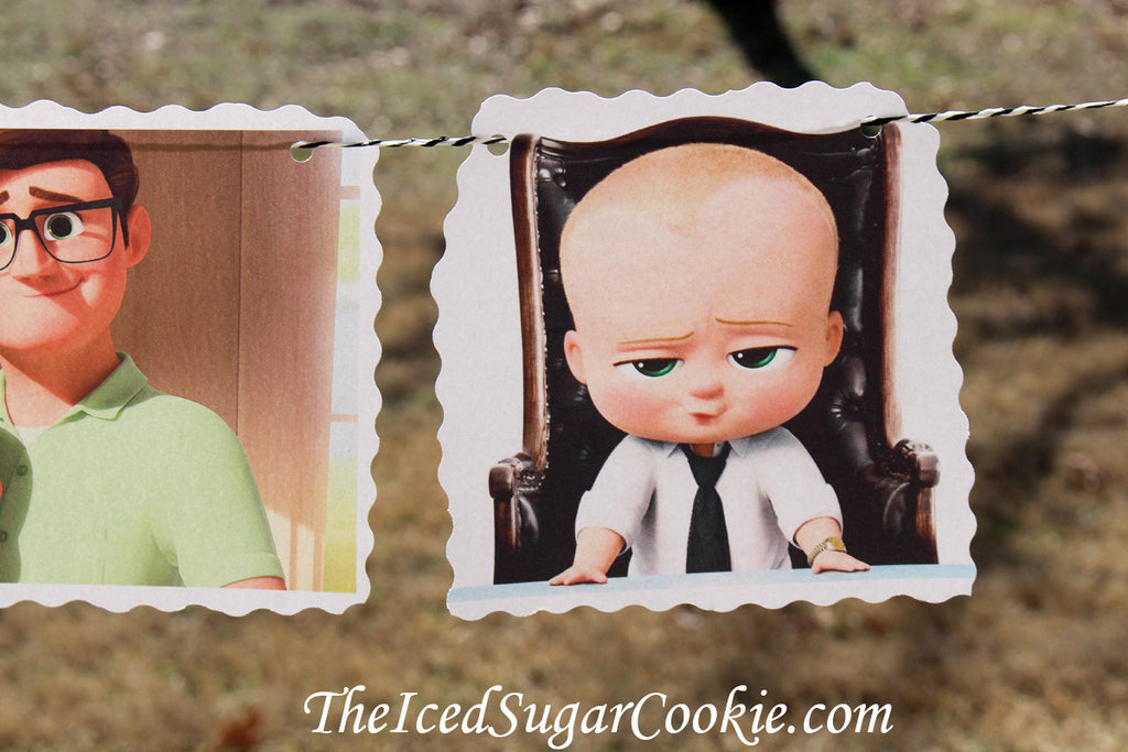 The Boss Baby Birthday Party DIY Idea Flag Hanging Banner-Baby Templeton, Mr And Mrs Templeton