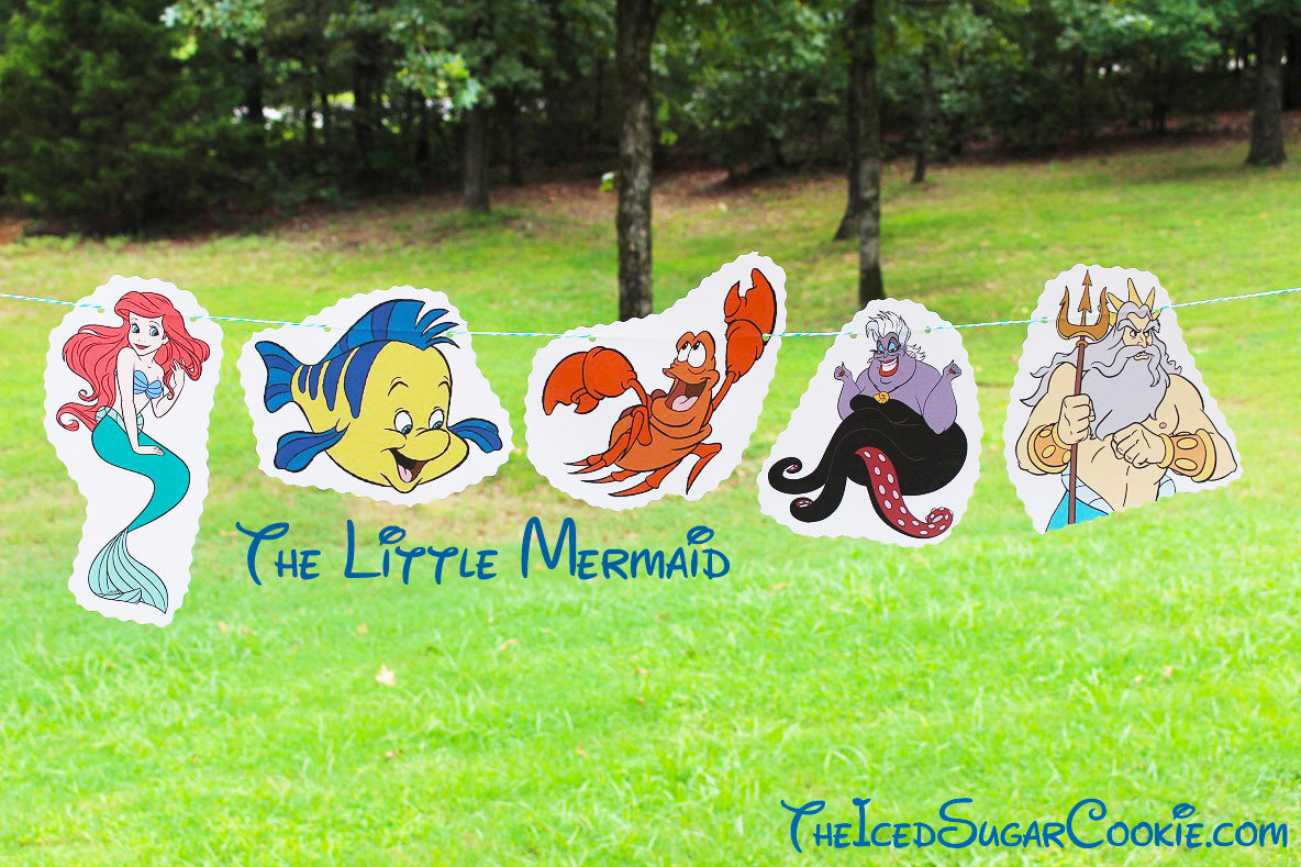 DIY The Little Mermaid Birthday Party Flag Hanging Banner Ideas- Ariel, Flounder, Sebastian, Ursula, King Triton