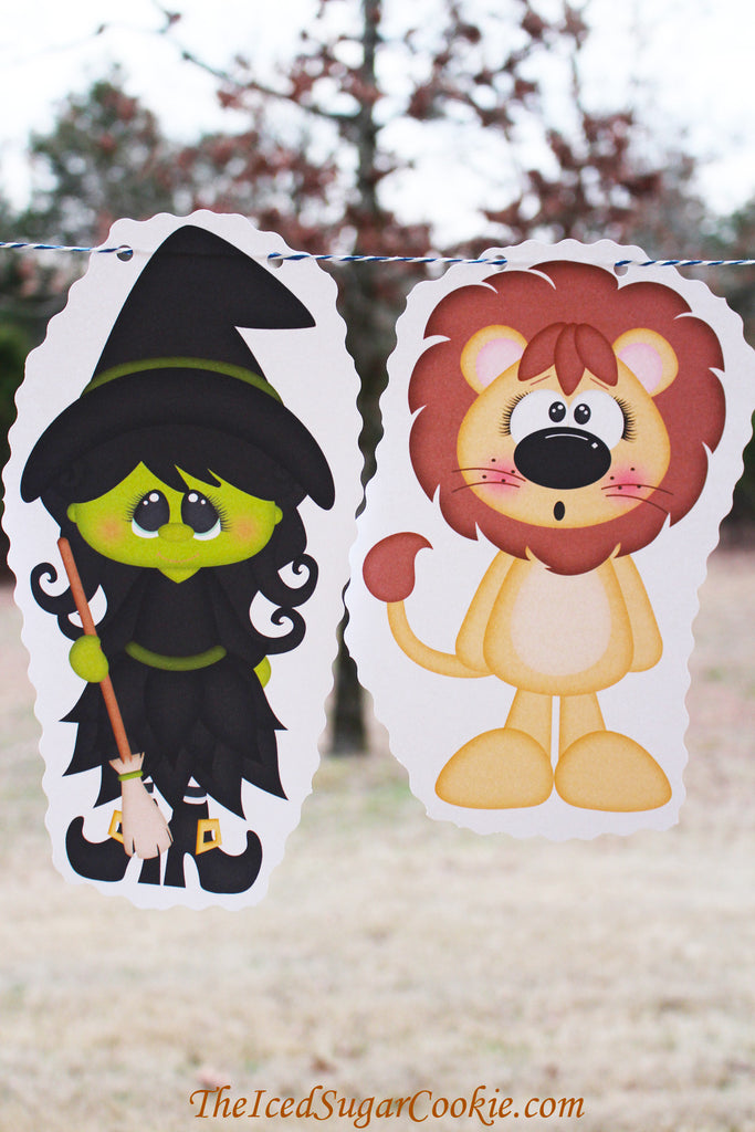 The Wizard Of Oz Birthday Party DIY Banner Flag Bunting Garland Idea-Dorthy-Toto-Tinman-Cowardly Lion-Glinda-Wicked Witch Of The West