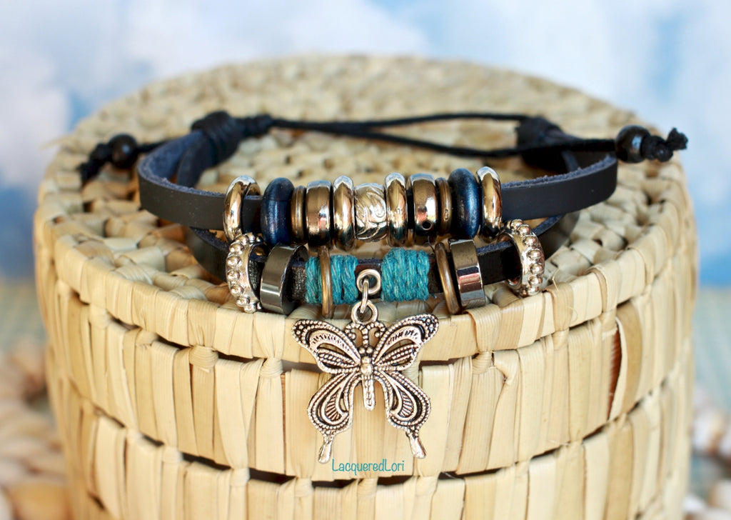 Butterfly Boho Bracelets- Bohemian Bracelets Beaded Teal Faux Leather Bracelets by The Iced Sugar Cookie- Jewelry Fashion Style Tribal Hipster Tumblr Photo by Lacquered Lori