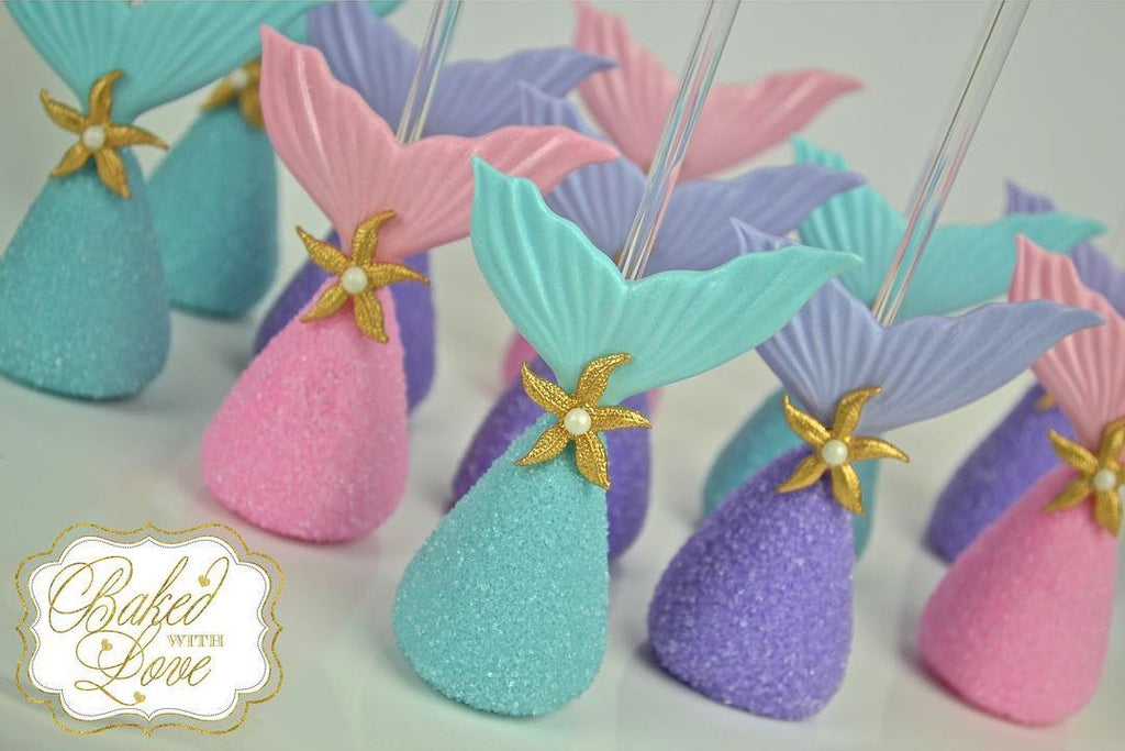 The Little Mermaid Birthday Party Cake Pops by @_bakedwithlove_ featured on TheIcedSugarCookie.com #mermaidparty #thelittlemermaidparty #mermaidbirthday #mermaidbirthdayparty #mermaidpartryideas #theicedsugarcookie #cakepops