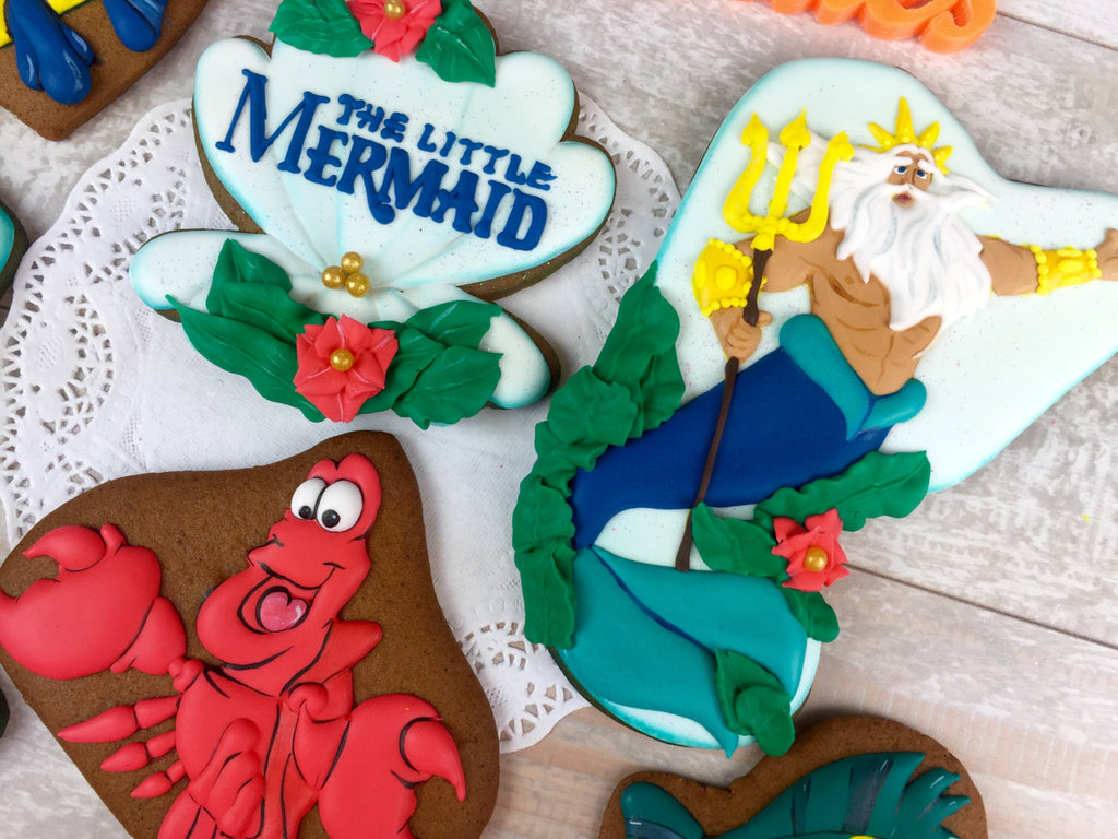 The Little Mermaid Under The Sea Birthday Party Cookies-Gingerbread, Chocolate, or Shortbread TheIcedSugarCookie.com Tale Cookies