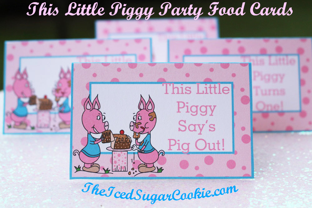 "This Little Piggy Birthday Party Food Label Tent Cards is a printable digital download. If you're throwing a ""This Little Piggy"" birthday party then these food cards will work great for you! This Little Piggy Birthday Party Food Label Tent Cards-This Little Piggy Turns One Nursery Rhyme Party Printable Template by The Iced Sugar Cookie. 1. This Little Piggy Loves Cake 2. This Little Piggy Say's Pig Out! 3. This Little Piggy Turns One! 4. This Little Piggy Loves Presents 5. Piggy Cakes 6. Piggy Food 7. Piggy Treats 8. Pig Slop 9. Piggy Drinks 10. Piggy Punch 11. Piggy Candy 12. Pig Out! 13. Piggy Cotton Candy 14. Piggy Pizza 15. Piggy Cookies 16. Piggy Pie 17. This Little Piggy Turns Two! 18. This Little Piggy Turns Three! 19. This Little Piggy Turns Four! 20. This Little Piggy Turns Five!"