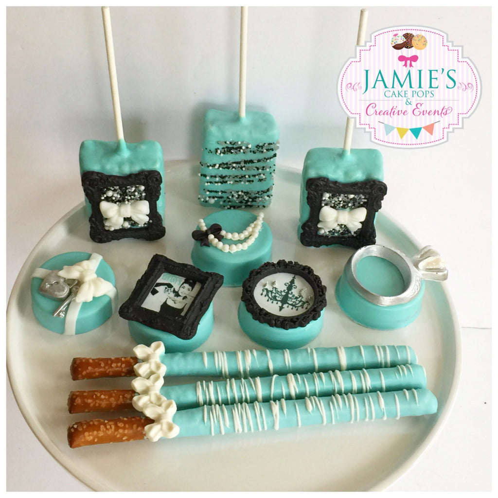 Tiffany Inspired Birthday Party Chocolate Covered Oreos TheIcedSugarCookie.com Jamie's Cake Pops And Creative Events