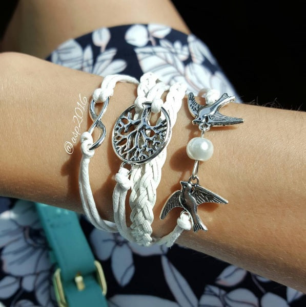 Tree of Life White Bracelet With Doves by The Iced Sugar Cookie