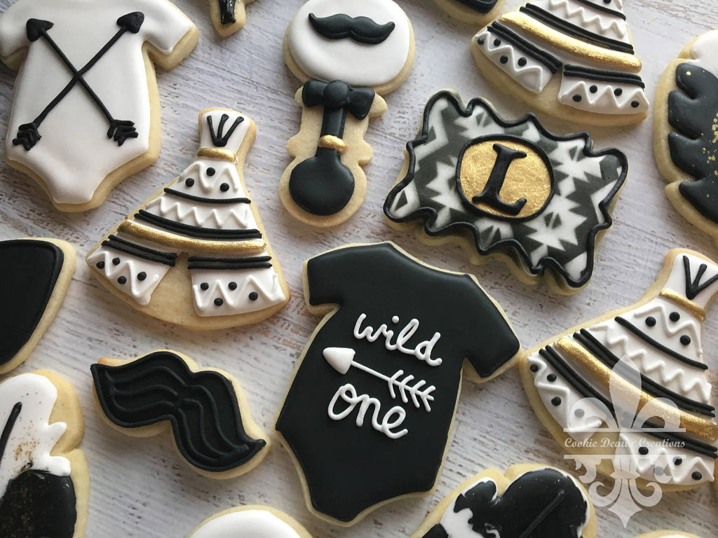 Black And Gold Tribal Boho Baby Shower Sugar Cookies The Iced Sugar Cookie