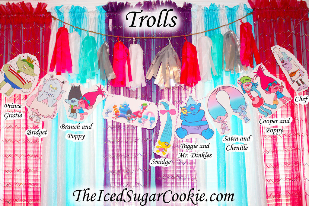 Trolls Birthday Party DIY Banner Idea-Poppy, Branch, Bridget, Prince Gristle, Satin, Chenille, Cooper, Mr. Dinkles, Biggie, Smidge, Chef, Bergens, Guy Diamond, DJ Suki