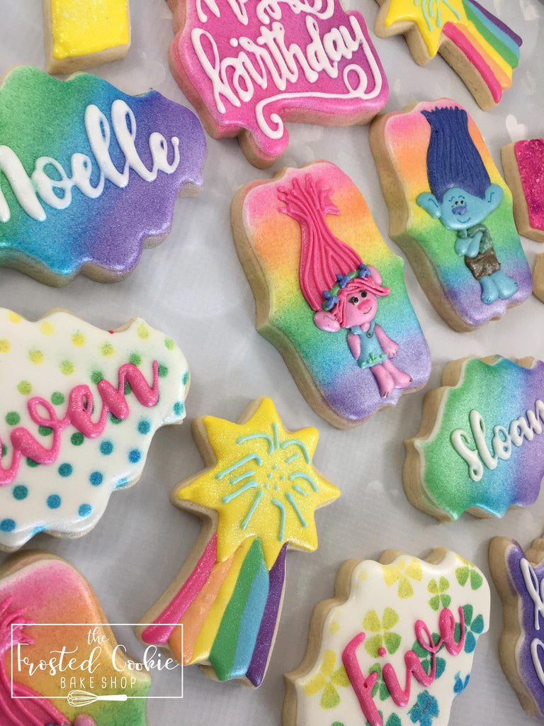 Rainbow Colored Trolls Birthday Party Sugar Cookies TheIcedSugarCookie.com The Frosted Cookie Bake Shop