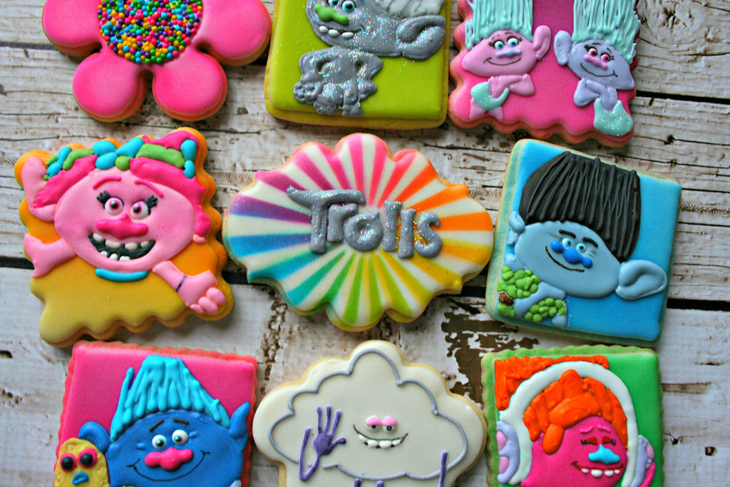 Trolls Birthday Party Sugar Cookies-Poppy, Branch, Guy Diamond, Cloud Guy, Biggie & Mr. Dinkles, Satin & Chenille, DJ Suki TheIcedSugarCookie.com MaMiMor Cookies