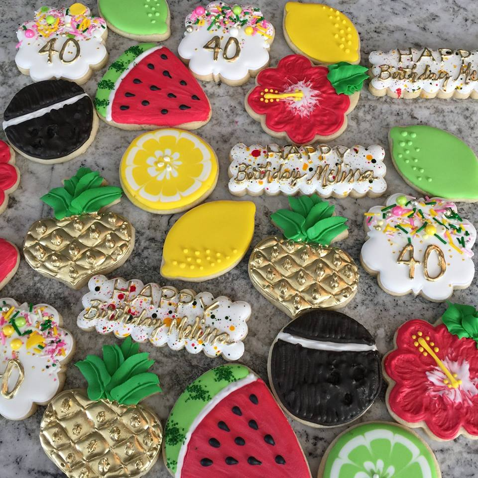 Tropical Summer Birthday Party Iced Sugar Cookies by Frosted Sweet Peas was featured on TheIcedSugarCookie.com #cookies #sugarcookies #decoratedcookies