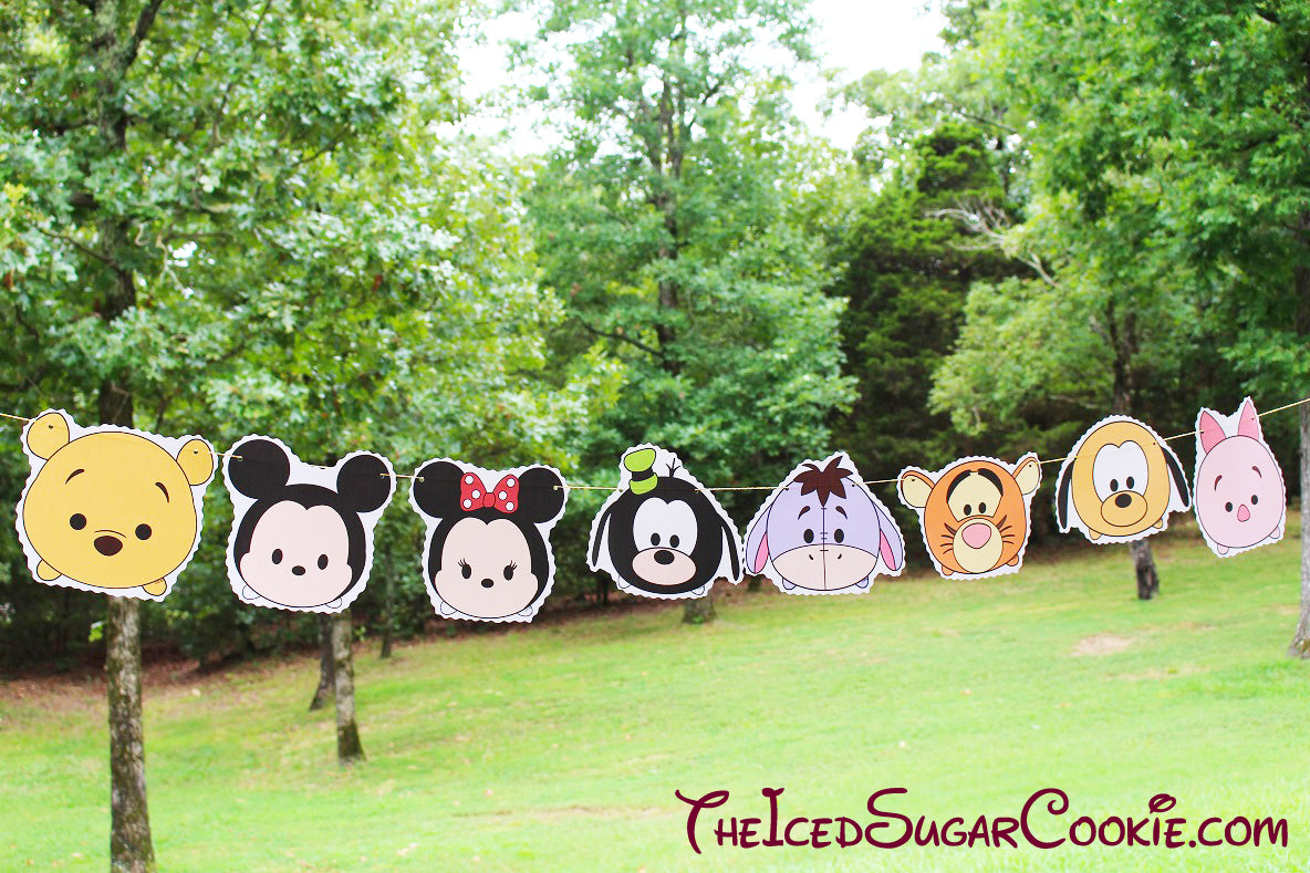 Tsum Tsum Disney Characters Birthday Party Flag Hanging Banner DIY Idea-Winnie The Pooh Bear, Mickey Mouse, Minnie Mouse, Goofy, Eeyore, Tigger, Pluto, Piglet