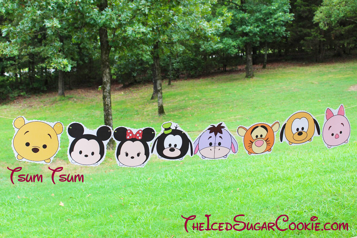 Tsum Tsum Birthday Party Flag Hanging Banner DIY IdeaWinnie The