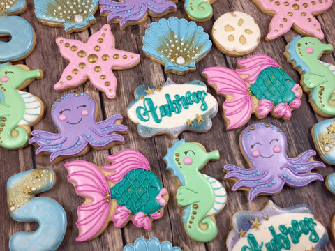 Under The Sea Sugar Cookies-Seahorse, Octopus, Fish, Sandollar, Shells TheIcedSugarCookie.com Whoos Bakery