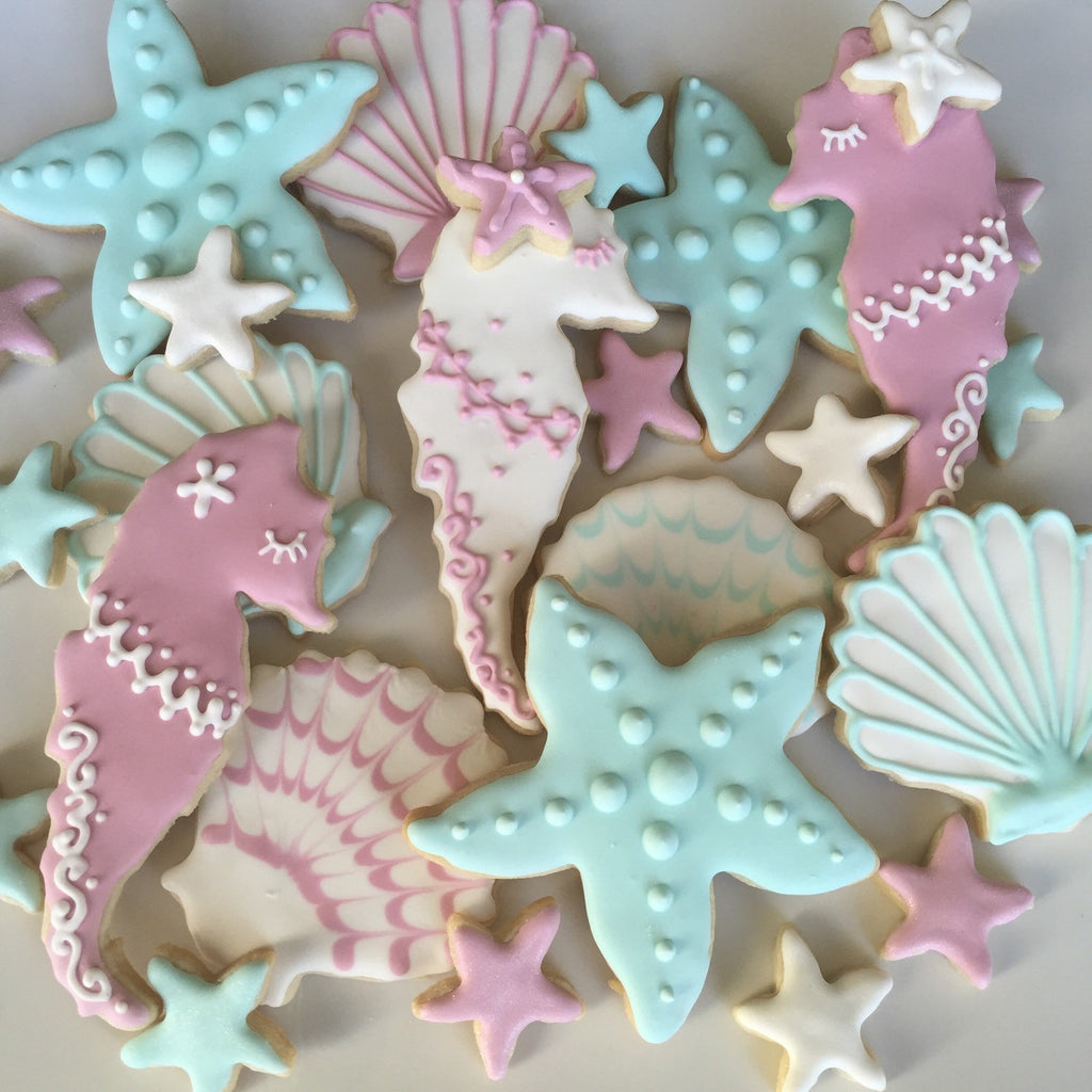 Assorted Sea Life Mermaid Under The Sea Birthday Party Sugar Cookies TheIcedSugarCookie.com Savanna Sweets