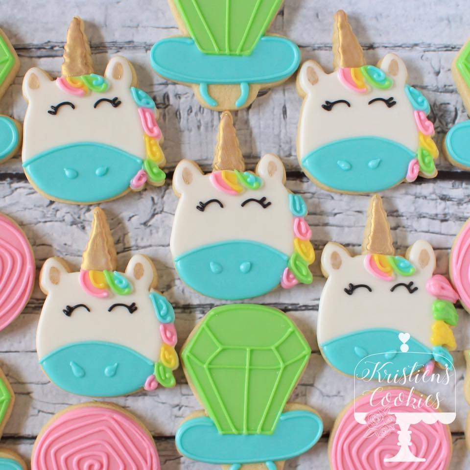 Unicorn And Ring Pop Birthday Party Sugar Cookies TheIcedSugarCookie.com Kristien's Cookies
