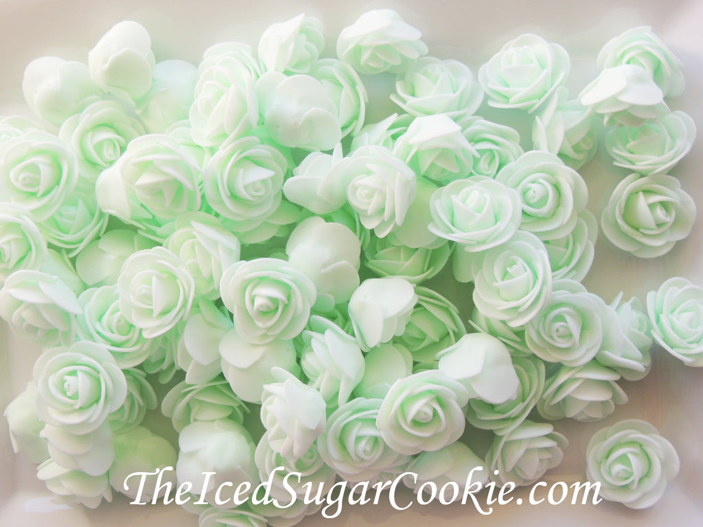 Unicorn Mint Foam Flower Roses Table Decor TheIcedSugarCookie.com