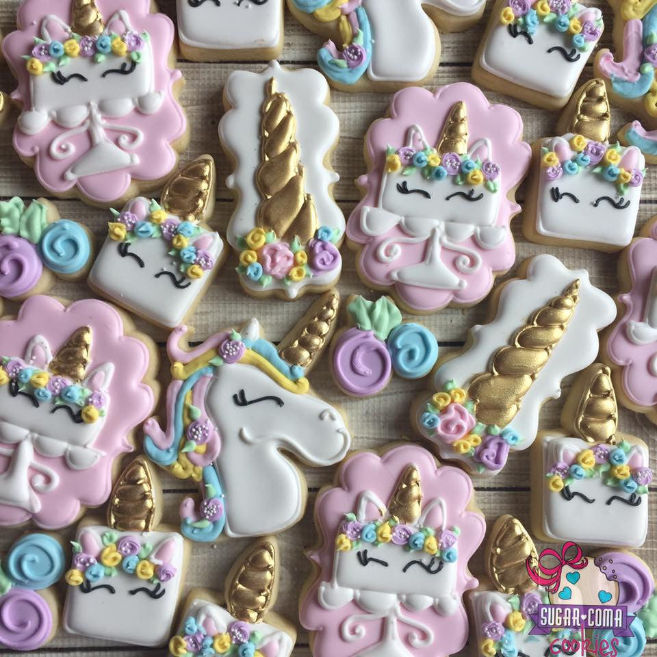 Pink And Gold Unicorn Birthday Party Sugar Cookies TheIcedSugarCookie.com Sugar Coma Cookies