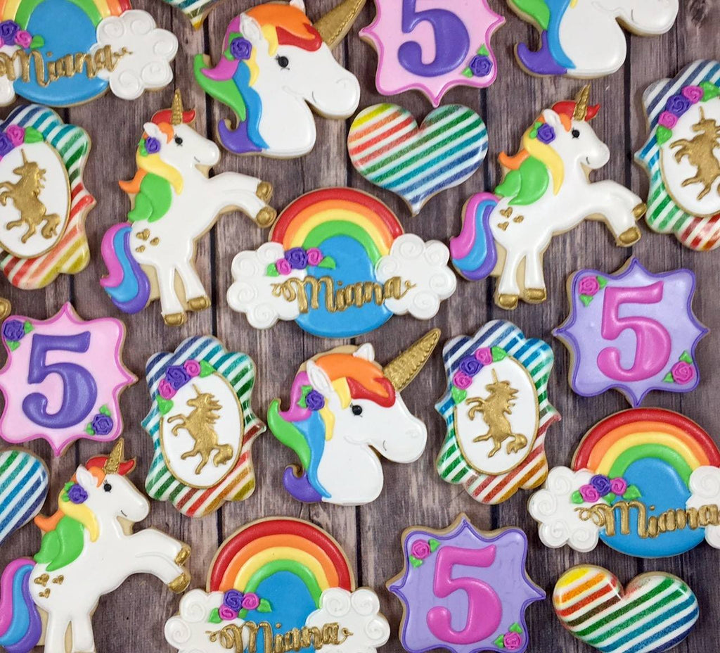 Rainbow And Gold Unicorn Birthday Party Sugar Cookies TheIcedSugarCookie.com Whoos Bakery