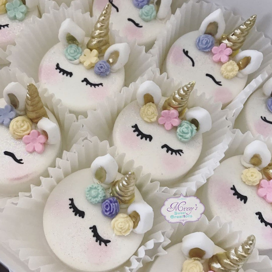 Unicorn Cake Pops, Unicorn Chocolate Covered Strawberries, Unicorn Rice Krispy Treats, Unicorn Chocolate Covered Oreos, Unicorn Chocolate Covered Marshmallows, Unicorn Pretzel Rods, Unicorn Cupcakes and Unicorn Sugar Cookies TheIcedSugarCookie.com Mizzy's Sweet Creations