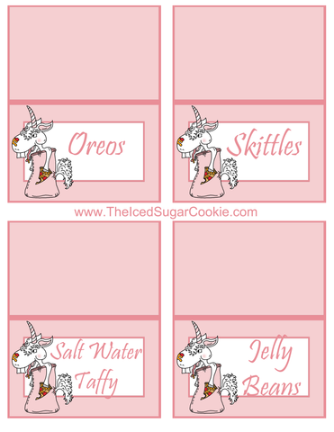 Unicorn Pizza Slumber Birthday Party Food Tent Cards Free Printables by The Iced Sugar Cookie Oreos, Skittles, Salt Water Taffy, Jelly Beans