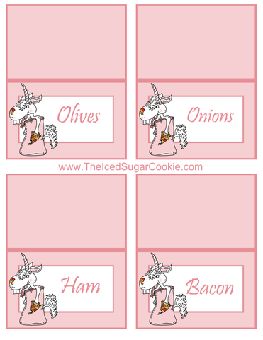 Unicorn Pizza Slumber Birthday Party Food Tent Cards Free Printables by The Iced Sugar Cookie Olives, Onions, Ham, Bacon