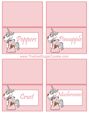 Unicorn Pizza Slumber Birthday Party Food Tent Cards Free Printables by The Iced Sugar Cookie Peppers, Pineapple, Crust, Mushrooms