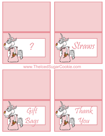 Unicorn Pizza Slumber Birthday Party Food Tent Cards Free Printables by The Iced Sugar Cookie  Question Mark, Straws, Gift Bags, Thank You