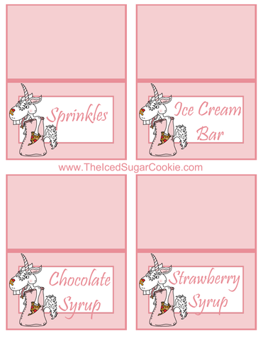 Unicorn Pizza Slumber Birthday Party Food Tent Cards Free Printables by The Iced Sugar Cookie  Sprinkles, Ice Cream Bar, Chocolate Syrup, Strawberry Syrup