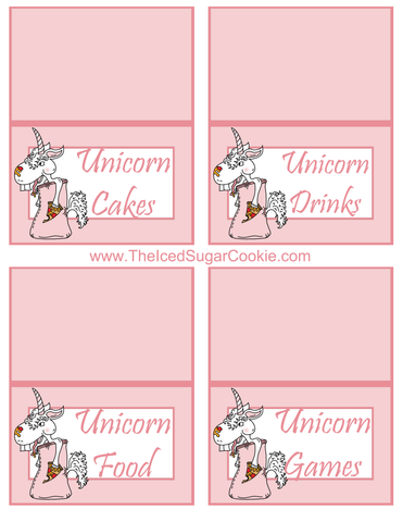 Unicorn Pizza Slumber Birthday Party Food Tent Cards Free Printables by The Iced Sugar Cookie  Unicorn Cakes, Unicorn Drinks, Unicorn Food, Unicorn Games