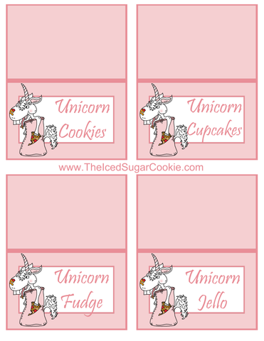 Unicorn Pizza Slumber Birthday Party Food Tent Cards Free Printables by The Iced Sugar Cookie  Unicorn Cookies, Unicorn Cupcakes, Unicorn Fudge, Unicorn Jello