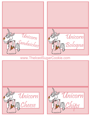 Unicorn Pizza Slumber Birthday Party Food Tent Cards Free Printables by The Iced Sugar Cookie Unicorn Sandwiches, Unicorn Bologna, Unicorn Cheese, Unicorn Chips