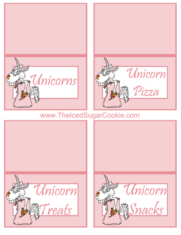 Unicorn Pizza Slumber Birthday Party Food Tent Cards Free Printables by The Iced Sugar Cookie Unicorns, Unicorn Pizza, Unicorn Treats, Unicorn Snacks