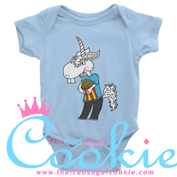 Unicorn Eating Popcorn Infant short sleeve one-piece by The Iced Sugar Cookie Clothing